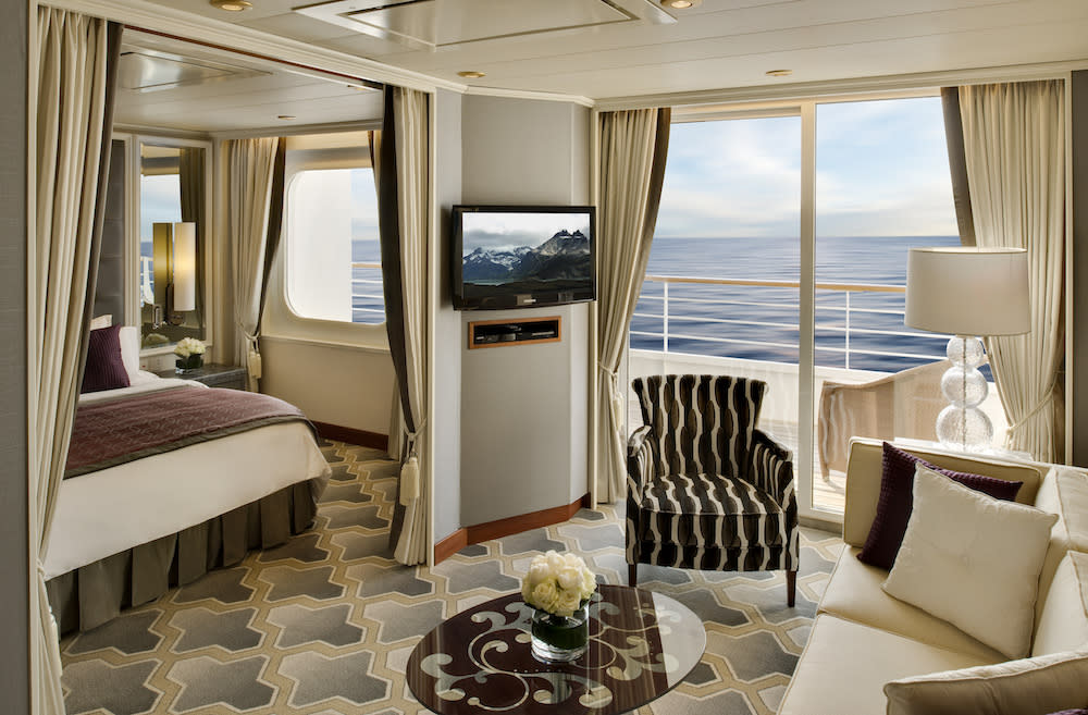 <p>This luxury cruise ship underwent a massive $17 million redesign in 2013 that blends Hollywood glamour with Fifth Avenue elegance. There are 535 staterooms, of which 35 are lavish penthouse suites spread over 1345 square feet, with their own verandah and a 24-hour butler. The ship has a host of entertainment options including a Dolby-equipped theatre, lavish Broadway-style productions, chic nightclubs, elegant spaces for ballroom dancing, a casino to try your luck, and numerous lounges to take in performances from classical quartets to jazz singers. There are also dedicated children's areas that have a wide range of activities to keep even the most active child entertained. Crystal Serenity is also known for its educational program that has live presentations from well-known authors, historians, diplomats, celebrities, and other personalities. Those looking to lead an active life can play paddle tennis, swim, work out in the fitness centre or tee off on the golf course with some PGA golf pros.<br />Photograph courtesy: Crystal Cruises </p>