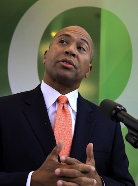 Massachusetts Gov. Deval Patrick speaks with reporters in Cambridge, Mass., Thursday, Sept. 27, 2012. Patrick says he expects criminal charges will be brought in an investigation of misconduct by a state lab chemist who admitted faking drug sample results, forging signatures and skipping proper procedures. Patrick said he shut down the drug lab soon after learning of admissions chemist Annie Dookhan made during an interview with state police at the end of August. (AP Photo/Steven Senne)