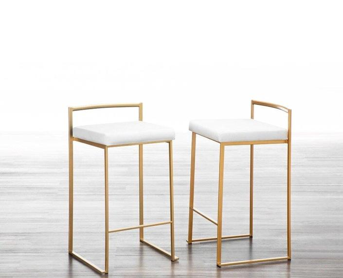 White and Gold Upholstered Bar Stools