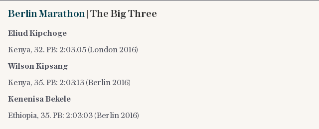 Berlin Marathon | The Big Three