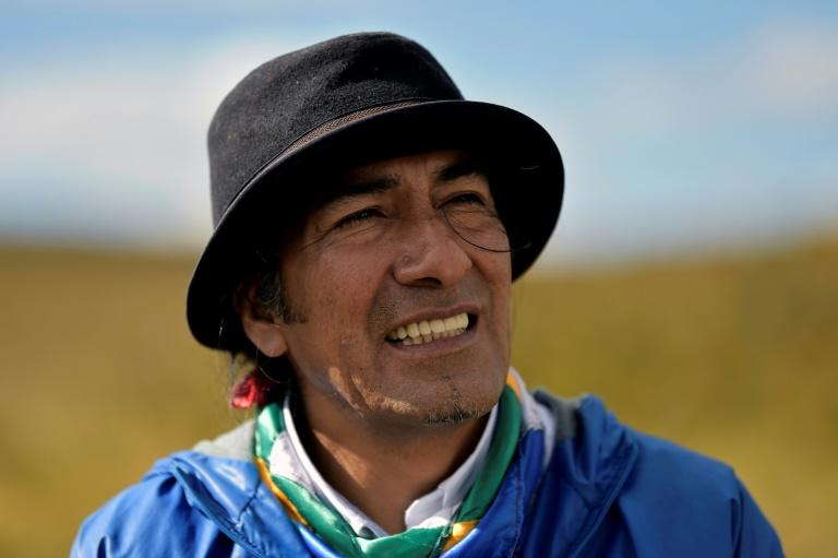 Community leader Yaku Perez, who is leading the indigenous struggle against the threat to water resources posed by mining companies in Ecuador's high grasslands (AFP Photo/Rodrigo BUENDIA)