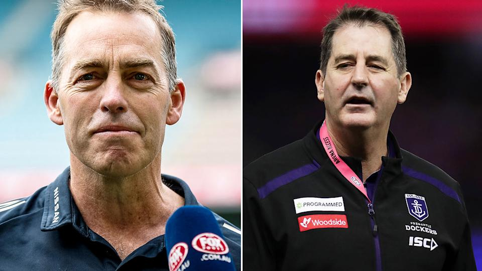Pictured here, former AFL coaches Alastair Clarkson and Ross Lyon.