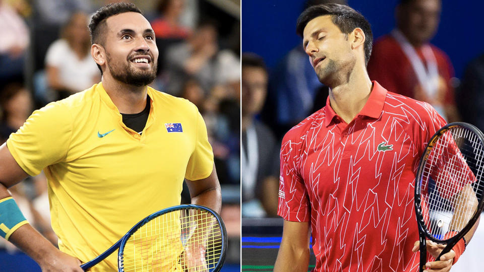 Nick Kyrgios (pictured left) smiling after a point and Novak Djokovic (pictured right) looking dejected.