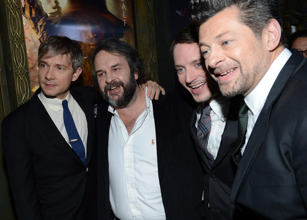 "NEW YORK, NY - DECEMBER 06:  (L-R) Actor Martin Freeman, filmmaker Peter Jackson, and actors Elijah Wood and Andy Serkis attend ""The Hobbit: An Unexpected Journey"" New York premiere benefiting AFI at Ziegfeld Theater on December 6, 2012 in New York City.  (Photo by Andrew H. Walker/Getty Images)"