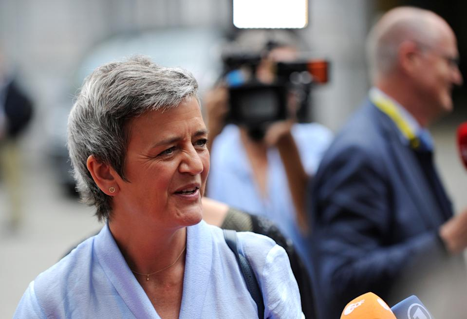 European Competition Commissioner Margrethe Vestager arrives at an ALDE party meeting ahead of a EU leaders summit in Brussels, Belgium, June 20, 2019. REUTERS/Johanna Geron