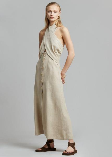<p>The halter top trend is everywhere and this <span>Nanushka Soffio Linen Halter Dress</span> ($595) is such an elevated and perfect version for any summer night out.</p>