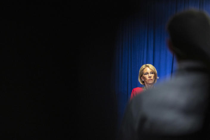 Secretary of Education Betsy Devos, at a White House coronavirus task force briefing at the U.S. Department of Education in Washington, on Wednesday, July 8, 2020. (Jason Andrew/The New York Times)