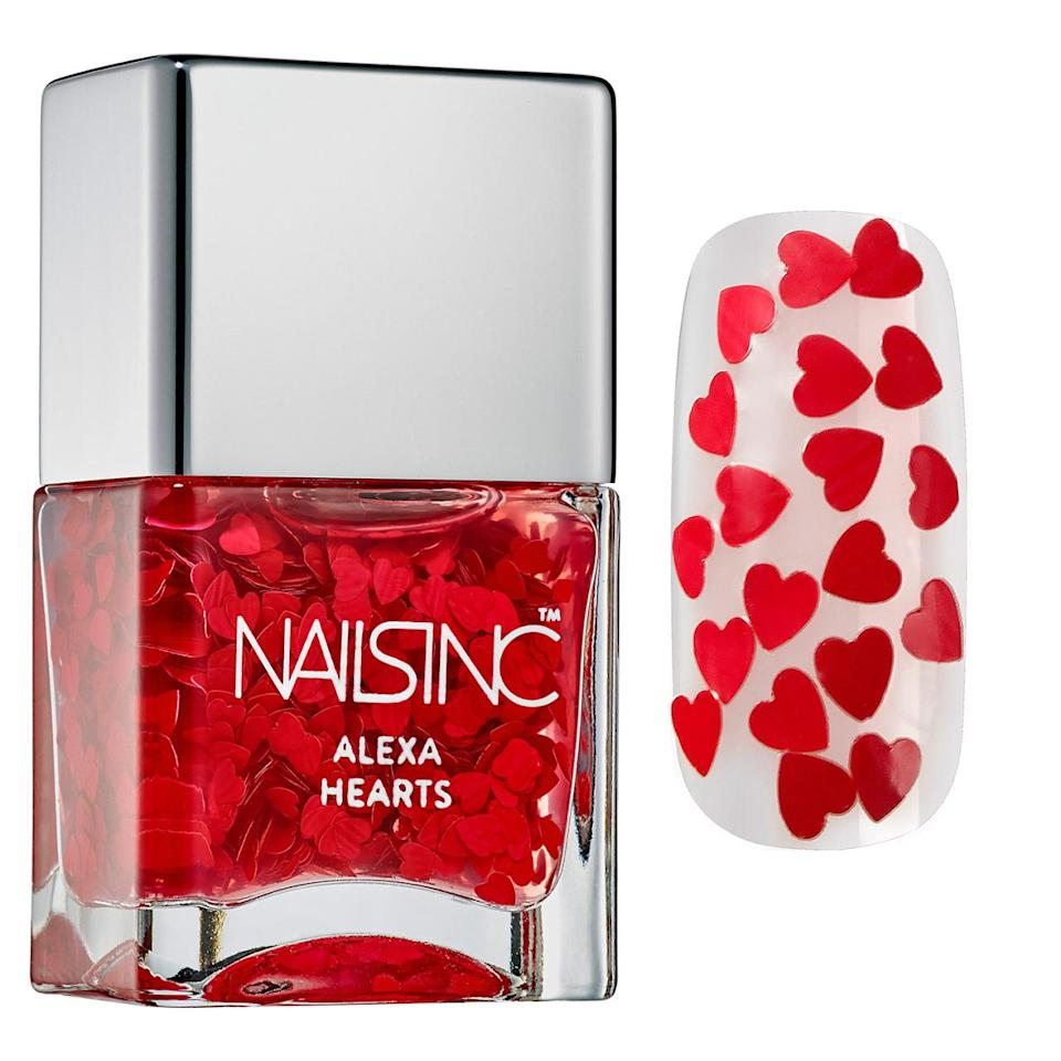 The perfect topcoat to sport on Valentine's Day, packed with tiny red hearts. Nailsinc Alexa Hearts ($16)