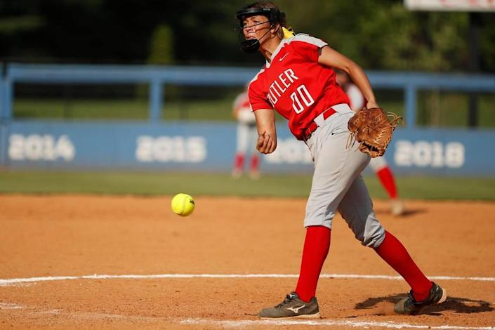 Butler's Maria Peguero took over in the circle during the third inning and led the Bearettes back to the state semifinals for the first time since 2018.