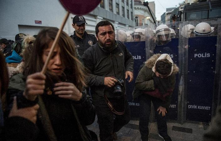 Turkish authorities give few authorisations for public protests after big anti-government marches in 2013 (AFP Photo/BULENT KILIC)