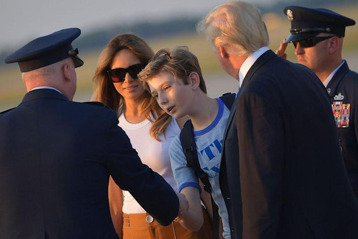 """<p>Barron is the <a rel=""""nofollow noopener"""" href=""""https://www.redbookmag.com/life/a50670/melania-trump-washington-dc-relocation-date-revealed/"""" target=""""_blank"""" data-ylk=""""slk:first child of a president"""" class=""""link rapid-noclick-resp"""">first child of a president</a> not to attend Sidwell Friends School in Washington D.C. in over 35 years. Barron attends St. Andrew's Episcopal School because Melania said in a statement that it's known for its diverse community and commitment to academic excellence.</p>"""