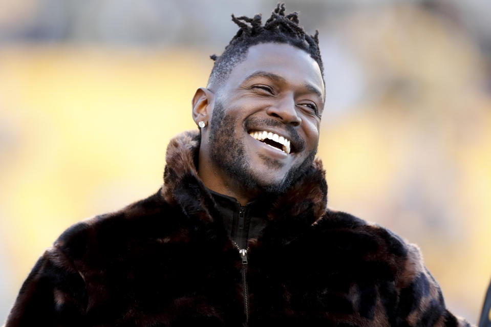Pittsburgh Steelers wide receiver Antonio Brown stands along the sideline in street clothes before an NFL football game against the Cincinnati Bengals, Sunday, Dec. 30, 2018, in Pittsburgh. (AP Photo/Don Wright)