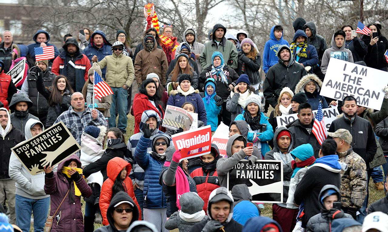 """<p>People cheer before they march, Feb. 16, 2017, in Detroit as part of the nationwide boycott called """"A Day Without Immigrants."""" (Photo: Todd McInturf /Detroit News via AP) </p>"""