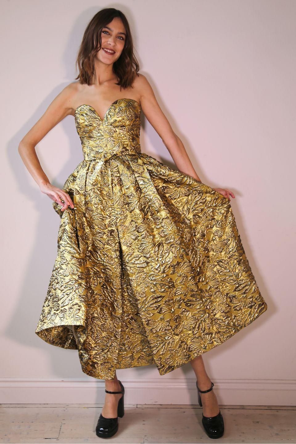 <p><strong>10 October </strong>Alexa Chung wore a metallic Erdem gown for the digital Green Carpet Fashion Awards this year. </p>
