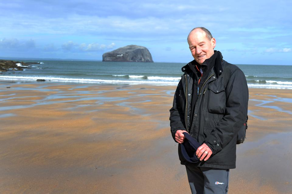From STV   WONDERS OF SCOTLAND WITH DAVID HAYMAN Ep4 Tuesday 5th October 2021 on ITV   Pictured: David Hayman on the beach near Bass Rock in East Lothian.  The Scottish film actor David Hayman ends his series exploring the scenic beauty, history and culture of Scotland with a journey along the rugged North Sea shores of East Lothian. There he takes a trip to Bass Rock; calls on the ghostbusters of Tantallon Castle and discovers the origins of ScotlandÕs national flag and of Robert Louis StevensonÕs Treasure Island.   (C) STV   For further information please contact Peter Gray peter.gray@itv.com   This photograph is © STV and can only be reproduced for editorial purposes directly in connection with the programme WONDERS OF SCOTLAND WITH DAVID HAYMAN or ITV. Once made available by the ITV Picture Desk, this photograph can be reproduced once only up until the Transmission date and no reproduction fee will be charged. Any subsequent usage may incur a fee. This photograph must not be syndicated to any other publication or website, or permanently archived, without the express written permission of ITV Picture Desk. Full Terms and conditions are available on the website www.itv.com/presscentre/itvpictures
