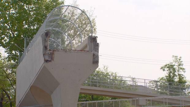 The former footbridge over 170 Street was demolished in 2018 with ramps being the only remaining vestige. (Rod Maldaner/CBC - image credit)