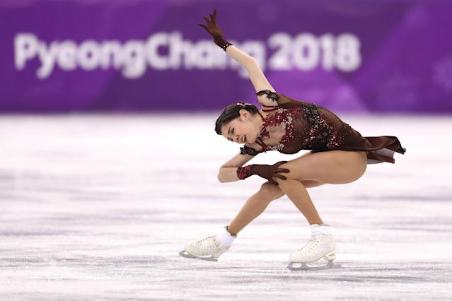 <p>Evgenia Medvedeva of Olympic Athlete from Russia competes during the Ladies Single Skating Free Skating on day fourteen of the PyeongChang 2018 Winter Olympic Games at Gangneung Ice Arena on February 23, 2018 in Gangneung, South Korea. (Photo by Richard Heathcote/Getty Images) </p>