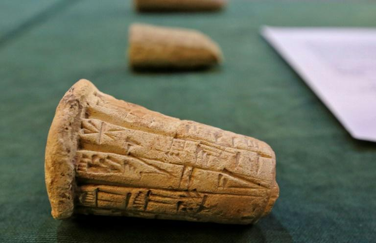 Mesopotamian clay cones were among a trove of looted antiquities returned to Iraq by the United States earlier this month