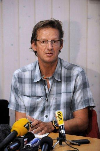 <p>Vice-president of the Chamonix mountain guides federation, Christian Trommsdorff, attends a news conference on September 24 in Chamonix, eastern France. Rescuers have all but given up on finding three climbers missing in a Nepal avalanche which killed at least nine people attempting to scale one of the world's highest peaks, officials said.</p>