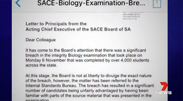This email had students believing they had to re-sit an exam. Source: 7 News