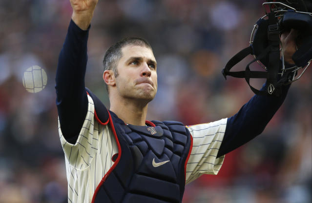 Joe Mauer had a special moment in Minnesota on Sunday. (AP Photo)