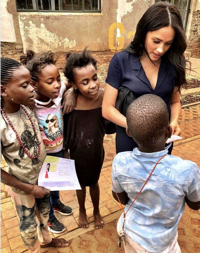 Meghan Markle pictured during her visit to Victoria Park, Johannesburg yesterday. [Photo: @SussexRoyal]