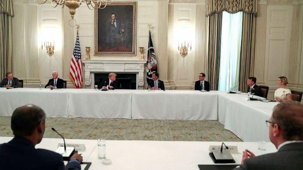 PHOTO: President Donald Trump speaks with restaurant executives and industry leaders during a coronavirus disease (COVID-19) pandemic meeting in the State Dining Room at the White House, May 18, 2020. (Leah Millis/Reuters)