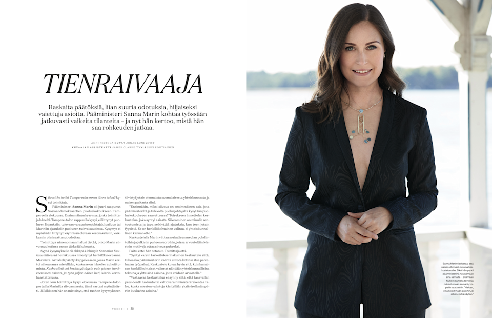 Trendi featured a photo of PM Sanna Marin wearing a plunging black blazer without a top underneathTrendi Magazine