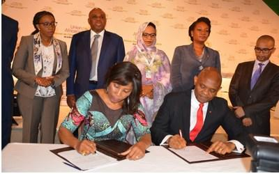 Signing the TEF-UNDP Entrepreneurship Programme in Niger—Tony Elumelu, Founder, Tony Elumelu Foundation and Ahunna Eziakonwa, UNDP Regional Director for Africa