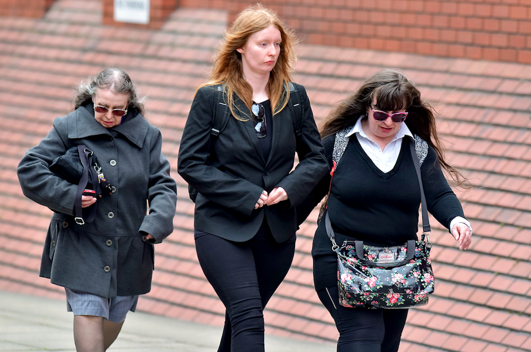 <em>(L-R) Denise Cranston, Abigail Burling and Dawn Cranston arrive at Leeds Crown Court for the second day of their trial (SWNS)</em>