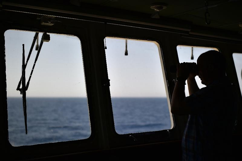 "The view from the ""Aquarius"", a ship rented by humanitarians SOS Mediterranee and Medecins Sans Frontieres (Doctors without Borders) to organise rescue operations"