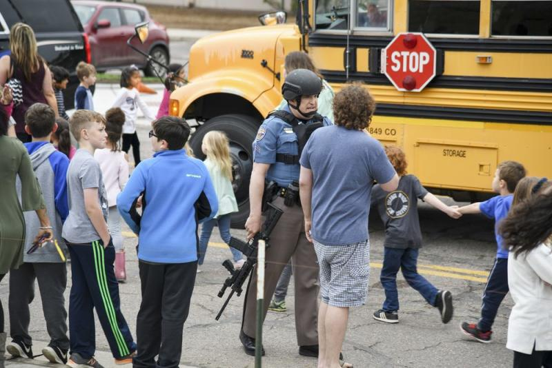 Students escorted at the STEM School | Hyoung Chang/MediaNews Group/The Denver Post via Getty