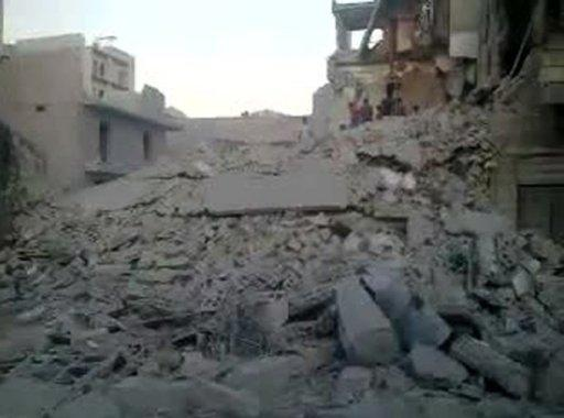 A YouTube clip from a September 24, 2012 video is said to show damage in Aleppo's Maadi district after an air raid