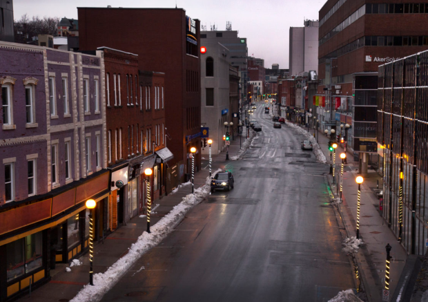 Water Street in downtown St. John's was practically empty on the night of March 27 — a Friday.   (Paul Daly - image credit)