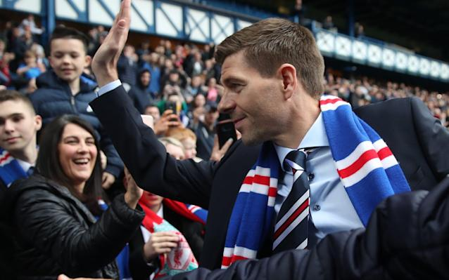 "Steven Gerrard must wait to discover when he will take charge of Rangers for the first time in a competitive game as the Ibrox club jostle with Aberdeen and Hibernian for Scotland's quota of Europa League places. As matters stand, the Scottish Cup winners will enter the tournament in the second qualifying round, with the Scottish Premiership runners-up and the third placed side starting in the first round of qualifiers. The best scenario for Gerrard would be for Celtic to win the Scottish Cup and for Rangers to finish as league runners-up, in which case his players would begin their competitive season on July 26, giving the former Liverpool and England midfielder a little more breathing space as he attempts to reconstruct Rangers after the current dispiriting season. The nightmare scenario for the Ibrox board would be a fourth-place finish and a Motherwell win in the Scottish Cup final at Hampden Park on May 19. That combination would cost Rangers domestic prize money and exclude them from European football. Gerrard will sit down this week with Rangers' director of football, Mark Allen, to identify signing targets. ""That's next on the list,"" he said, when asked about his timetable on his first foray into football management. ""We've already had a couple of brief chats but we will have lots of discussions as we try to make the team capable of competing."" With two fixture cards remaining, Rangers closed to within a point of Aberdeen after beating Kilmarnock for the first time this season. Jimmy Nicholl is in charge of Rangers for what remains of their campaign and he restored David Bates – bound for Hamburg in the summer – to central defence for the first time since March, with Ross McCrorie making way. The injured Josh Windass was replaced by Colombian striker, Alfredo Morelos, who had another frustrating outing in the Old Firm derby. None of these changes had proved productive by half time, with the game goalless and some of the home fans grumbling. The mood of frustration grew as the stalemate persisted into the closing stages of the contest. Nevertheless, Nicholl's selection of Bates proved to be the ace card for Rangers in the 87th minute, when the centre-back got into the Kilmarnock area to turn home a Sean Goss cross. On Tuesday, Rangers travel to Pittodrie, where disparate trends encountered each other in the shape of Aberdeen and Hibs. The visitors had not won on their four most recent visits to the Granite City but arrived on an unbeaten run stretching back for 11 games. The Dons, meanwhile, had not won in May in a 13-game sequence which began in 2009. Hibs passed up a splendid opportunity to take an early lead when Jamie Maclaren was barged to the ground inside the box for a penalty kick which the Australian chose to take, only for Joe Lewis to read his intent and save with a dive low to his right to turn the ball up and over his crossbar. Maclaren was culpable again when he rose to meet a perfect cross from Martin Boyle six yards out and unmarked, but the striker placed his effort wide of the mark. Aberdeen took time to impose themselves but they came close when a Scott McKenna header was scooped off the line by Darren McGregor and, as the interval approached, Niall McGinn cracked a 25-yard free kick off the bar. John McGinn, the Hibs midfielder, alarmed Aberdeen with a 20-yard drive that was blocked by Lewis just before the hour mark, but his effort proved to be the last decent piece of work in a match which became more untidy as it wore on. ""I am pleased with the performance and the mentality – and I'm disappointed not to come away with the three points,"" said Neil Lennon. The Hibernian manager added: ""Their goalkeeper got the man of the match and that says it all. We were comfortable and dealt with their aerial threat very well. We've still got a chance of finishing second. We are well in it."" Elsewhere, Motherwell seemed distracted by their appearance in the William Hill Scottish Cup final at Hampden in two weeks, as they were thrashed 5-1 at home to St Johnstone, for whom Steve MacLean scored a hat-trick on his final appearance for the Perth club. ""It is what dreams are made of,"" MacLean said, who was Saints' captain for the day. ""When I woke up I would not have thought about signing off with that. I am so happy to go off that way and I wish them every success in the future."""