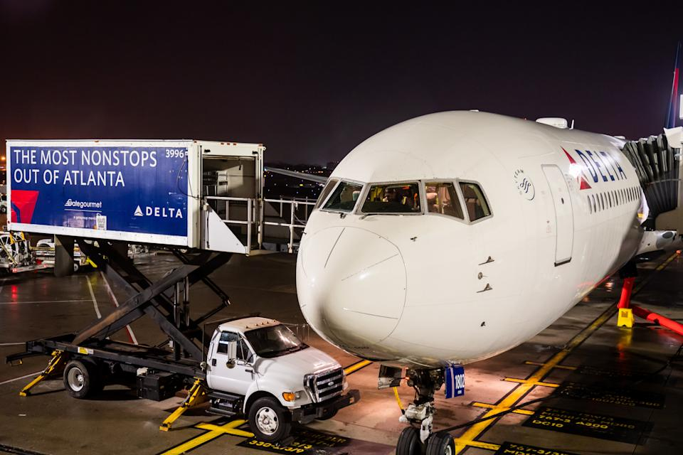 ATLANTA, UNITED STATES - 2019/11/08: Delta Airlines Boeing 767-400 aircraft seen at Hartsfield-Jackson Atlanta International Airport. (Photo by Alex Tai/SOPA Images/LightRocket via Getty Images)