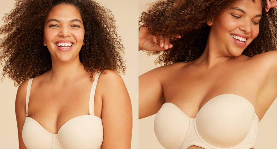Nordstrom shoppers are loving this convertible bra for larger chests. Images via Nordstrom.
