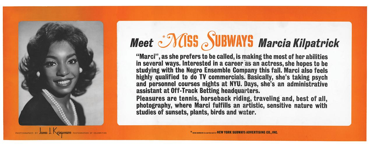 "This image provided by the MTA courtesy of the New York Transit Museum shows Marcia Kilpatrick, who appeared on placards in the New York City subways from Nov. 1974 - April 1975 in the ""Meet Miss Subways"" campaign that ran for 35 years as eye candy to bring attention to other advertisements in New York's transit system. ""Meet Miss Subways: New York's Beauty Queens 1941-76,"" is now an exhibition at the New York Transit Museum running Oct. 23-March 25, and a companion book of the same name with current-day photos of the women. (AP Photo/ MTA courtesy of the New York Transit Museum)"