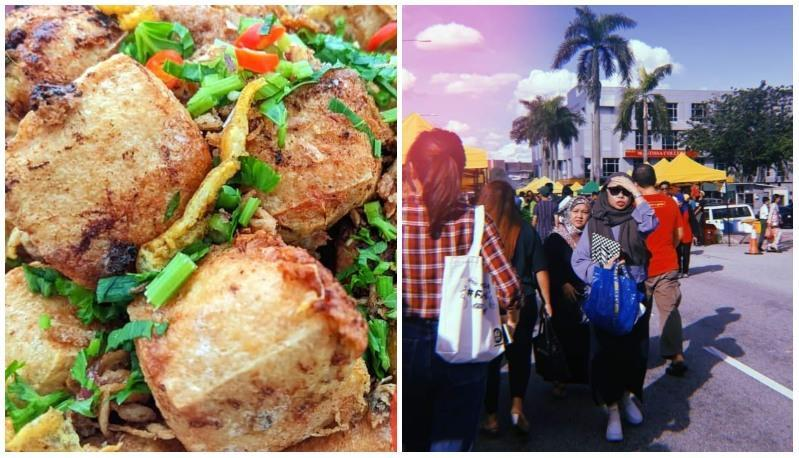 Tauhu bergedil, at left, and people walking near Pasar Malam TTDI, at right. Photos: Inalicious Bakery/Instagram and Coconuts