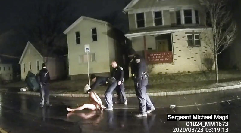 Video of Prude, a Black man who had run naked through the streets of the western New York city, died of asphyxiation after a group of police officers put a hood over his head, then pressed his face into the pavement for two minutes, according to video and records released. Source: AP