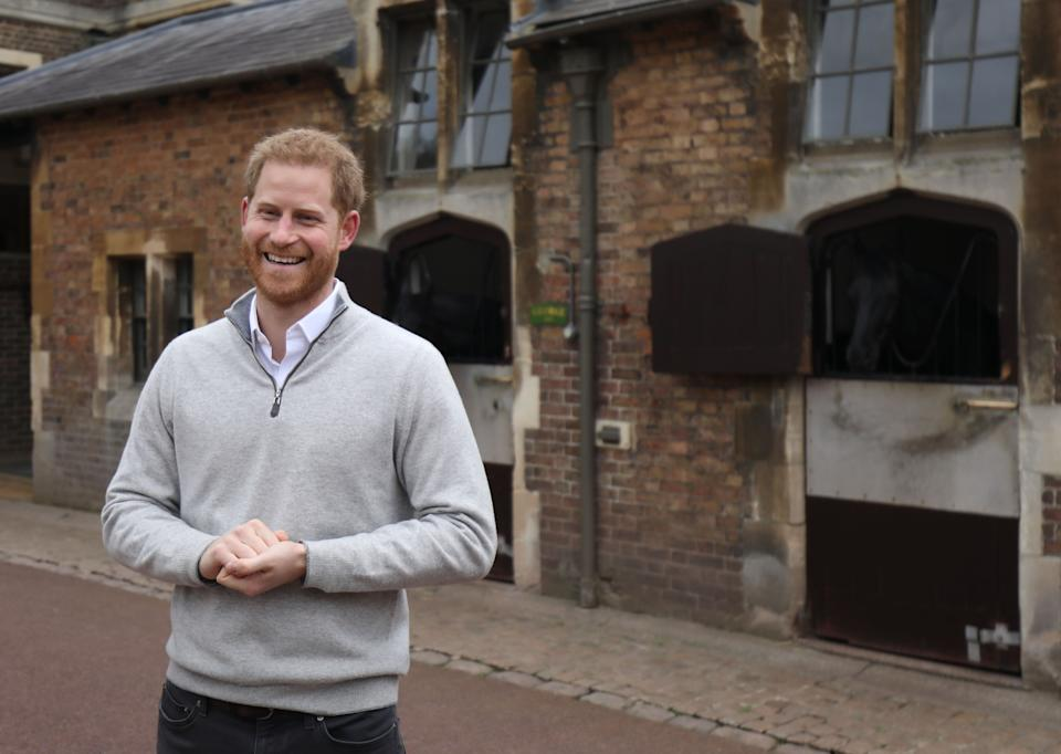 Proud new father Harry in Windsor yesterday [Photo: PA]