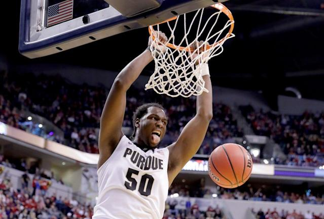 "All-American <a class=""link rapid-noclick-resp"" href=""/ncaab/players/131277/"" data-ylk=""slk:Caleb Swanigan"">Caleb Swanigan</a> has five days to decide whether to return to Purdue or not. (Getty)"