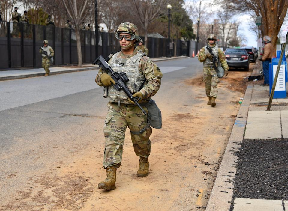 Members of the National Guard patrol around the U.S. Capitol on Jan. 18.