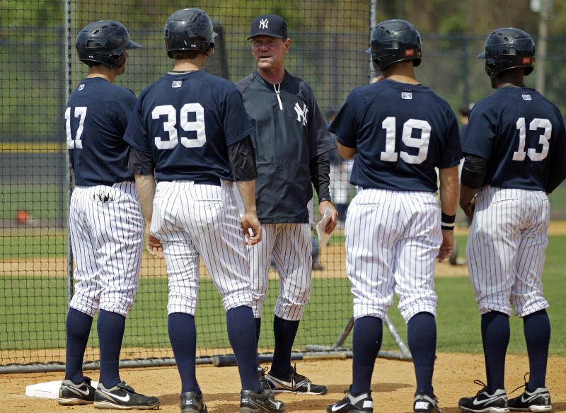 In this Wednesday, March 7, 2012, photo, Scranton/Wilkes-Barre Yankees manager Dave Miley, center, talks to his players at the Yankees' minor league training complex in Tampa, Fla. Miley's team will play 144 games of their Triple-A season on the road this year, forced out of PNC Field because of a $40 million stadium renovation. (AP Photo/Kathy Willens)