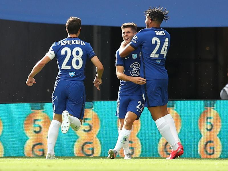 Chelsea's Christian Pulisic celebrates scoring their first goal: Pool via REUTERS