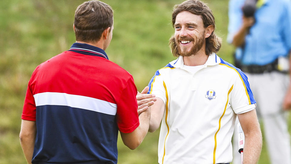 Tommy Fleetwood and Jordan Spieth, pictured here after tying their singles match at the Ryder Cup.