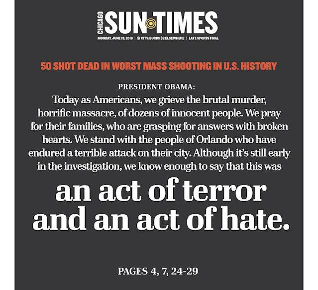 <p>Chicago Sun-Times<br> Published in Chicago, Ill. USA. (newseum.org) </p>