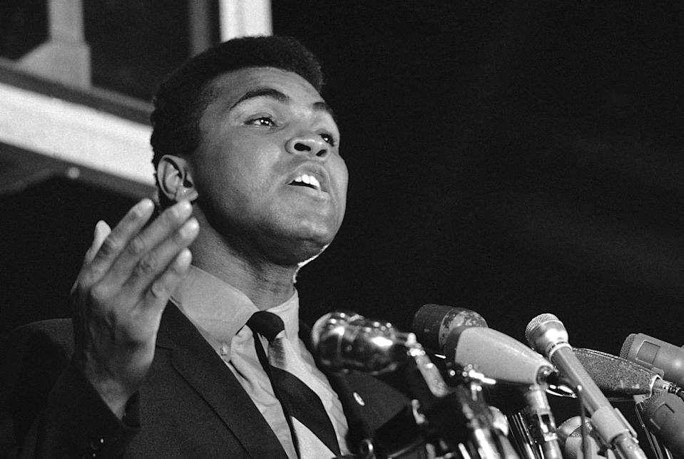 """FILE - In this May 10, 1967 file photo, Muhammad Ali, former world heavyweight boxing champion, speaks at an anti-war rally at the University of Chicago in Chicago. Celebrities have long played a significant role in social change, from Harry Belafonte marching for civil rights to Ali's anti-war activism. LeBron James and other basketball stars made news in 2014 when they wore t-shirts reading """"I can't breathe"""" to protest the death of Eric Garner. Just last month, """"Grey's Anatomy"""" star Jesse Williams just gave a passionate speech at the BET Awards calling for unity against police brutality. (AP Photo/Charles Harrity, File)"""