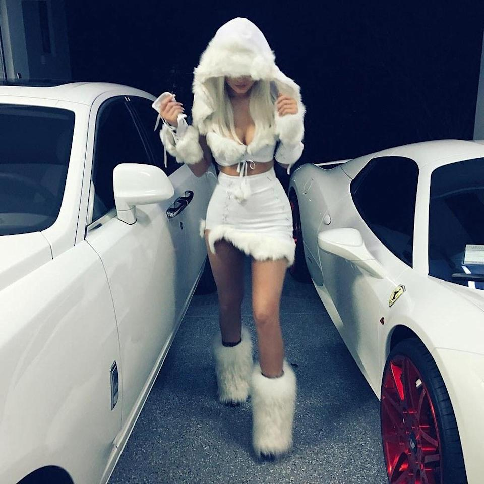 <p>Back in 2015, Kylie seemed to have mistaken Halloween for Christmas as she dressed head-to-toe in white faux fur. <em>[Photo: Instagram]</em> </p>