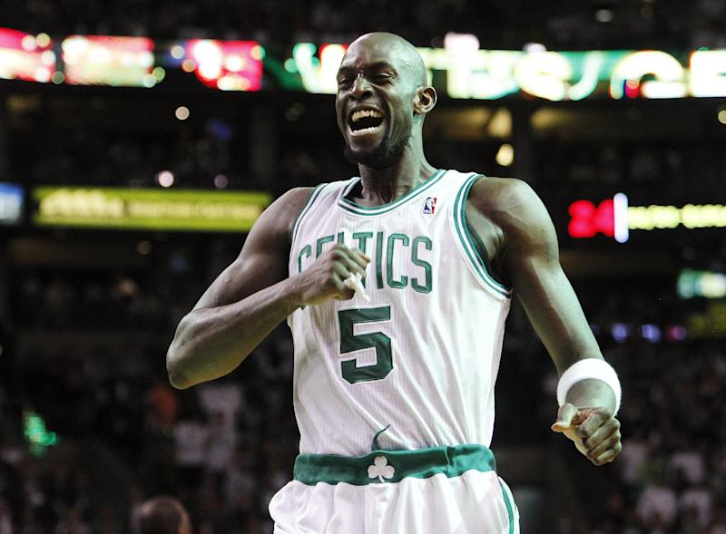 Boston Celtics forward Kevin Garnett pumps himself up before Game 4 against the Miami Heat in their NBA basketball Eastern Conference finals playoff series in Boston, Sunday, June 3, 2012. (AP Photo/Elise Amendola)